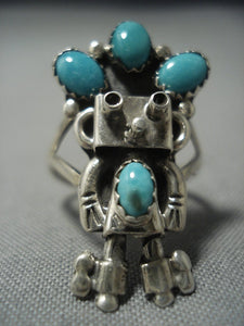 Rare Vintage Navajo Turquoise Sterling Native American Jewelry Silver Ring-Nativo Arts