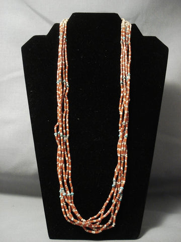 Rare Vintage Santo Domingo **tubed Coral** Turquoise Native American Jewelry Silver Necklace-Nativo Arts