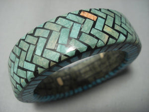 Rare Vintage Santo Domingo Turquoise Bangle Bracelet Native American Jewelry-Nativo Arts