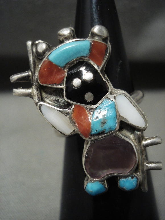 Rare Vintage Zuni Dancing Turquoise Kachina Coral Native American Jewelry Silver Ring-Nativo Arts