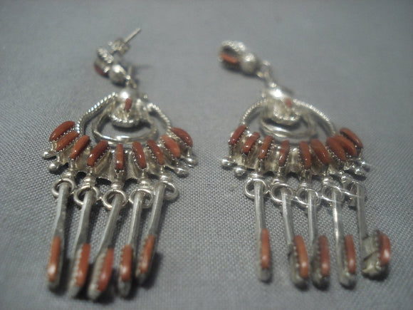 Rare Vintage Zuni Needle Coral Sterling Silver Earrings Old-Nativo Arts
