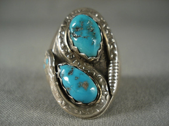 Rare Vintage Zuni Turquoise Snake Native American Jewelry Silver Ring-Nativo Arts