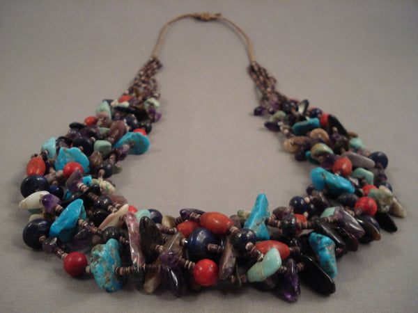 Rare Whitegoat Navajo Native American Jewelry jewelry Turquoise Coral Amethyst Necklace-236 Grams!