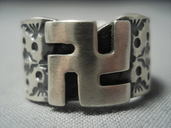 Rare Whriling Logs Bo Reeves Vintage Navajo Sterling Native American Jewelry Silver Ring Old-Nativo Arts
