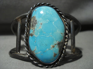 Rare Wide Webbed #8 Turquoise Vintage Navajo Native American Jewelry Silver Bracelet Old-Nativo Arts