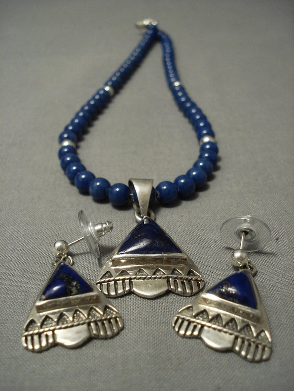 Rarest Lapis Lazuli In The World Native American Jewelry Silver Navajo Necklace-Nativo Arts