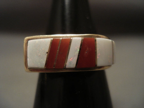 Real Opal And Coral Navajo Native American Jewelry jewelry Vintage 14k Gold Ring-Nativo Arts