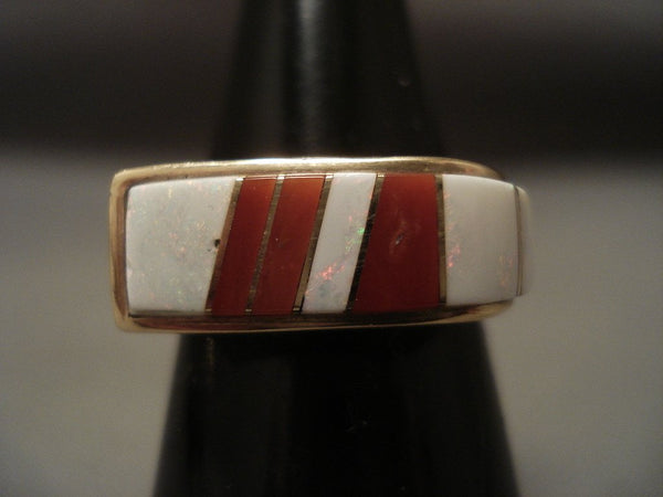 Real Opal And Coral Navajo Native American Jewelry jewelry Vintage 14k Gold Ring