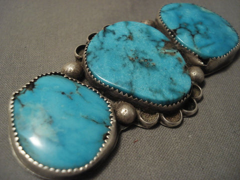 Really Big Really Old Vintage Navajo Bisbee Turquoise Native American Jewelry Silver Pin-Nativo Arts