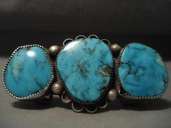 Really Big Really Old Vintage Navajo Bisbee Turquoise Native American Jewelry Silver Pin