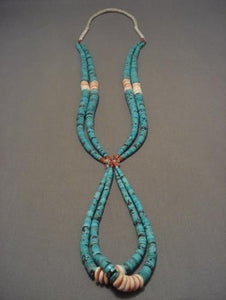 Red Mountain Turquoise Vintage Navajo Native American Jewelry jewelry Turquoise Coral Necklace-Nativo Arts