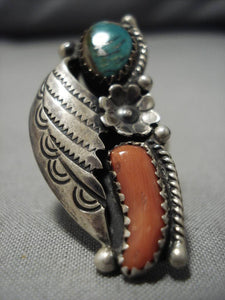 Remarkable Chunky Coral Vintage Native American Navajo Sterling Silver Ring Old-Nativo Arts