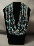 Remarkable Modernistic Navajo Native American Jewelry jewelry 'Tight Weave' Persian Turquoise Necklace-Nativo Arts