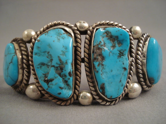 Remarkable Modernistic Navajo Turquoise Sterling Native American Jewelry Silver Bracelet Cuff-Nativo Arts