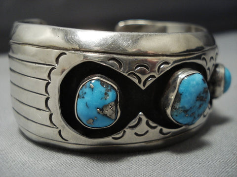 Remarkable Vintage Native American Jewelry Navajo Vivid Turquoise Sterling Silver Cuff Bracelet-Nativo Arts