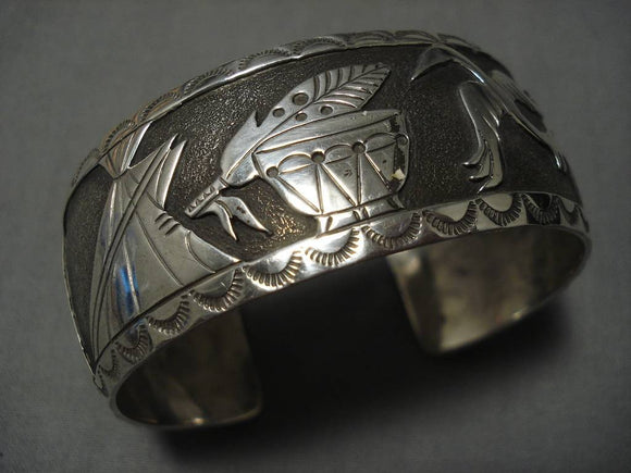 Remarkable Vintage Native American Navajo Becenti Family Sterling Silver Bracelet Old-Nativo Arts
