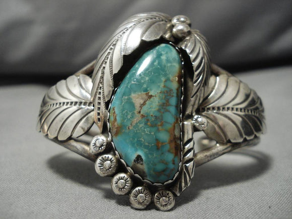 Remarkable Vintage Native American Navajo Royston Turquoise Sterling Silver Bracelet Old-Nativo Arts