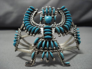 Remarkable Vintage Native American Zuni Hugh Bowekaty Sterling Silver Bracelet-Nativo Arts