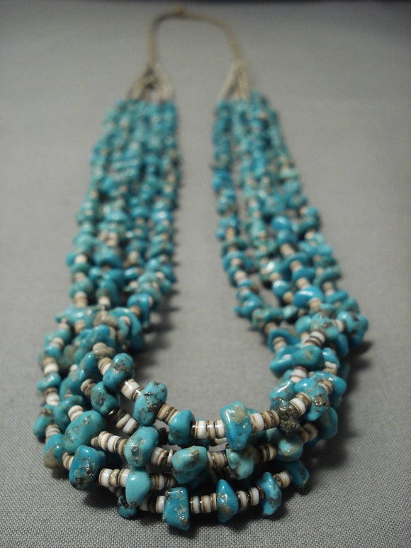 Remarkable Vintage Navajo Native American Jewelry jewelry Turquoise Heishi Necklace-Nativo Arts