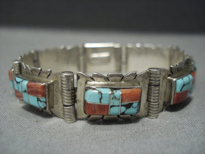 Remarkable Vintage Navajo Turquoise Sterling Silver Bracelet Native American Jewelry-Nativo Arts
