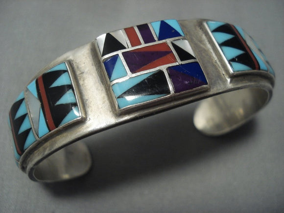 Remarkable Vintage Navajo Turquoise Sugulite Sterling Native American Jewelry Silver Bracelet Old-Nativo Arts