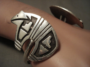 Reverse Inventive Vintage Navajo Dancing Bear Native American Jewelry Silver Backwards Bracelet-Nativo Arts