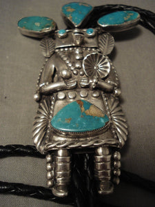 Serious Collector Alert! Vintage Navajo Helen Long Turquoise Native American Jewelry Silver Bolo Tie-Nativo Arts