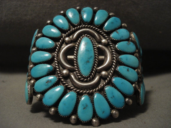 Serious Collectors Only! Vintage Zuni Alice Quam Natural Turquoise Bracelet-Nativo Arts