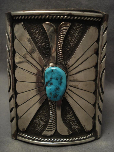 Shocking Vintage Navajo big Boy Native American Jewelry Silver Turquoise Ketoh Bracelet