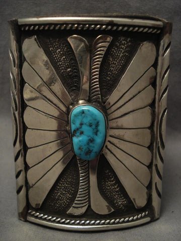 Shocking Vintage Navajo big Boy Native American Jewelry Silver Turquoise Ketoh Bracelet-Nativo Arts