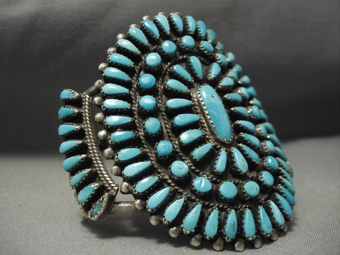 Sky Blue Huge Vintage Navajo Turquoise Native American Jewelry Silver Bracelet Old-Nativo Arts