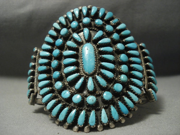 Sky Blue Huge Vintage Navajo Turquoise Native American Jewelry Silver Bracelet Old