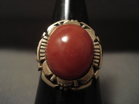Solid 14k Gold 'Massive Coral' Vintage Navajo Native American Jewelry jewelry Ring-Nativo Arts
