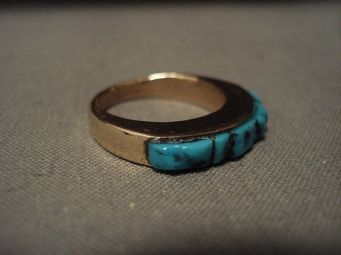 Solid 14k Gold Rare Vintage Navajo Native American Jewelry jewelry Old Kingman Turquoise Ring-Nativo Arts