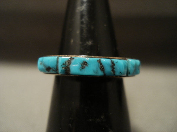 Solid 14k Gold Rare Vintage Navajo Native American Jewelry jewelry Old Kingman Turquoise Ring