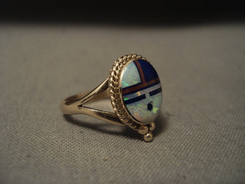 Solid 14k Gold Real Opal Coral Lapis Navajo Native American Jewelry jewelry Ring-Nativo Arts