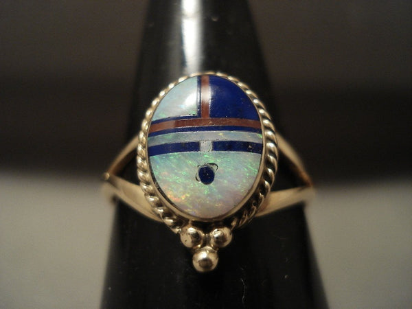 Solid 14k Gold Real Opal Coral Lapis Navajo Native American Jewelry jewelry Ring