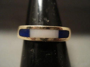 "SOLID 14K GOLD VINTAGE NAVAJO """"FINEST LAPIS"""" GOLD RING-Nativo Arts"