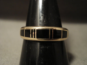 Solid 14k Gold Vintage Navajo Native American Jewelry jewelry Black Onyx Ring Old-Nativo Arts