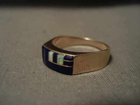 Solid 14k Gold Vintage Navajo Native American Jewelry jewelry Lapis Opal Ring-Nativo Arts