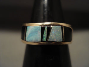 Solid 14k Gold Vintage Navajo Native American Jewelry jewelry Opal Onyx Ring-Nativo Arts