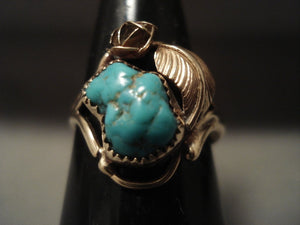 Solid 14k Gold Vintage Navajo Native American Jewelry jewelry Turquoise Ring-Nativo Arts