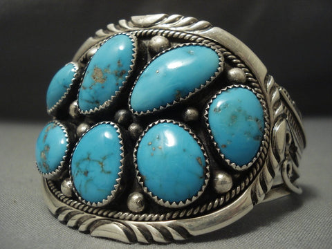 Striking Blue Gem Turquoise Vintage Navajo Sterling Native American Jewelry Silver Bracelet Old-Nativo Arts