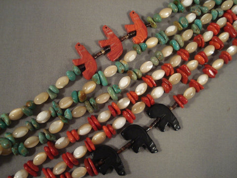 Striking Navajo Turquoise Coral Heishi Sterling Native American Jewelry Silver Necklace-Nativo Arts