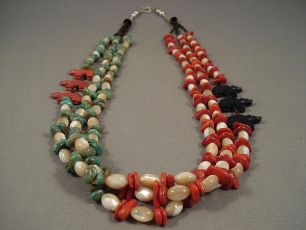 Striking Navajo Turquoise Coral Heishi Sterling Native American Jewelry Silver Necklace