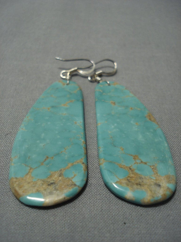 Striking Santo Domingo Royston Green Turquoise Native American Jewelry Silver Earrings-Nativo Arts