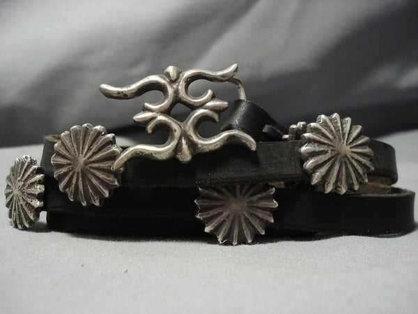 Striking Vintage Native American Jewelry Navajo Hand Wrought Sterling Silver Concho Belt Old-Nativo Arts