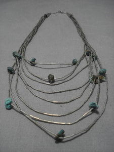 Striking Vintage Native American Navajo Seafoam Royston Turquoise Sterling Silver Necklace Old-Nativo Arts