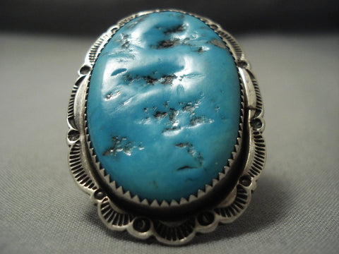 Striking Vintage Navajo Blue Gem Turquoise Sterling Native American Jewelry Silver Ring-Nativo Arts