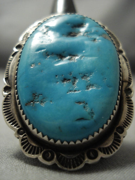Striking Vintage Navajo Blue Gem Turquoise Sterling Native American Jewelry Silver Ring